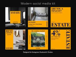 完全可编辑的文件,用于增强您的社交媒体帐户。,房地产社交媒体工具包