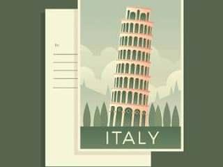 比萨塔意大利明信片矢量