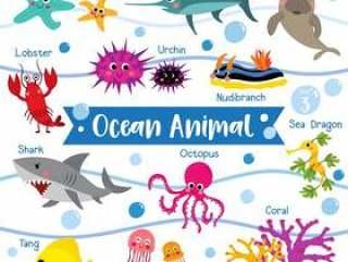 与动物名字的海洋动物动画片