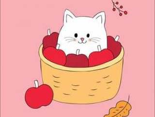 卡通可爱的秋天猫在篮子苹果矢量。