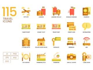 115旅行和旅游业的颜色矢量图标,115旅行图标|焦糖系列