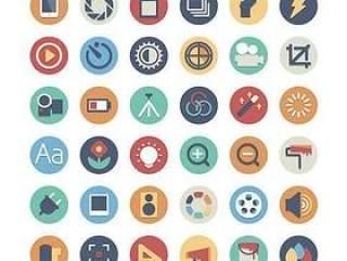 手机APP圆形扁平化彩色图标设计三