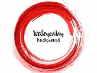 在红色圈子的抽象水彩背景