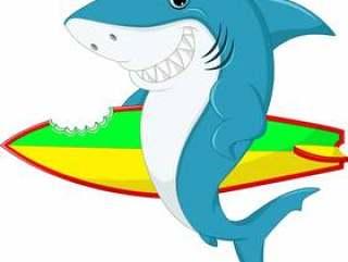 可爱的鲨鱼冲浪卡通