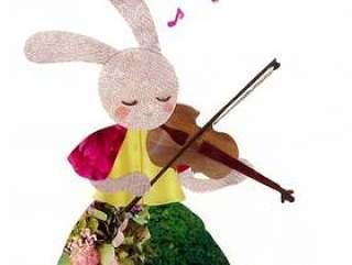 动物和乐器系列 - Usagi和小提琴〜