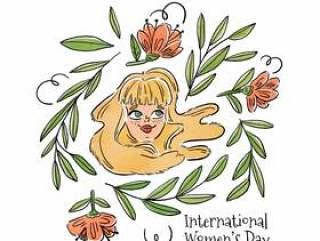 可爱的金发女郎微笑着叶子和粉红色的花朵