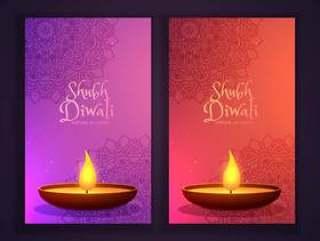 美丽的屠妖节快乐diwali垂直横幅和ma