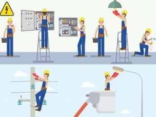 电工的传染媒介例证在工作