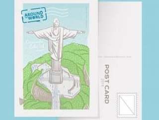 着名科尔科瓦多基督在里约热内卢明信片传染媒介例证的救世主