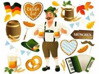 慕尼黑啤酒节设置矢量背景。