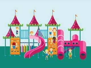 五颜六色的操场或丛林健身房的儿童