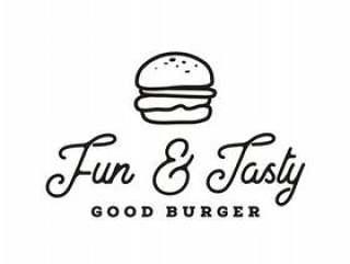 汉堡标志设计与时髦线条艺术绘画风格