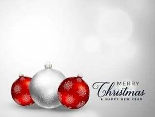 典雅的圣诞快乐圣诞装饰球背景