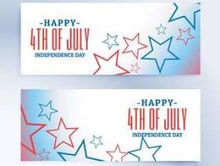 7月独立日横幅和标头的愉快的第4