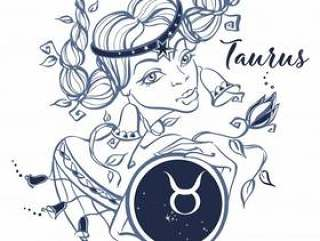 The Taurus zodiac sign as a beautiful girl. Horoscope.