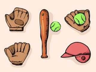 垒球东西入门包涂鸦矢量图
