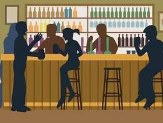 拥挤的酒吧例证