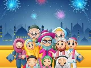 幸福的家庭为eid穆巴拉克庆祝