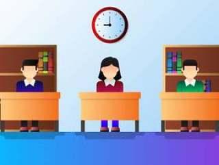 学习在教室传染媒介例证的学校孩子