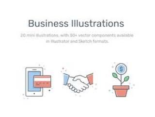 20个迷你插图,包含30个基于单矢量的组件。,商业和金融插图