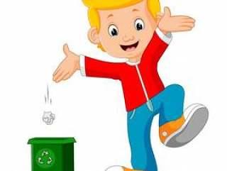 男孩字符在垃圾扔垃圾