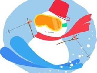 雪人的滑雪_圆的背景
