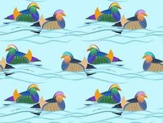 在水无缝的样式的美丽的鸳鸯。