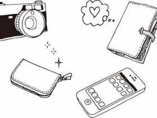 袖珍手袋,钱包,相机,智能手机