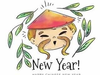 可爱的中国男孩头与叶和帽子到农历新年