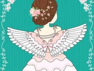 女性佩戴天使的翅膀
