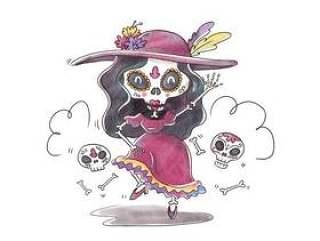 可爱的卡特里娜字符跳舞和微笑的Dia De穆埃斯矢量
