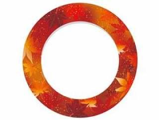 红色,圆形框架与秋季图形模式。