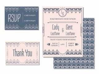艺术装饰婚礼卡模板