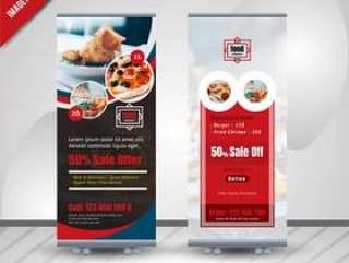 食物卷起餐馆的横幅设计