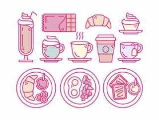 矢量早餐大纲图标