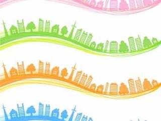 在城市天际线的波浪框架