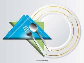 板,勺子,叉子和餐巾的插图