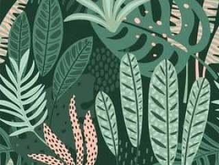 抽象的无缝模式与热带树叶。
