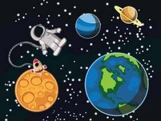 行星和宇航员矢量