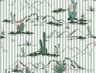 沙漠与仙人掌和山花无缝模式