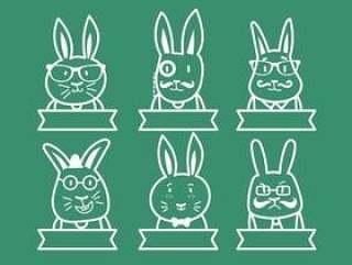时髦复活节兔子插图集