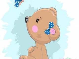 可爱的小宝贝熊女孩卡通图案