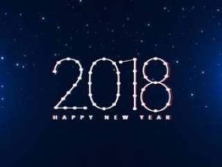 新年快乐2018年设计在蓝色背景中