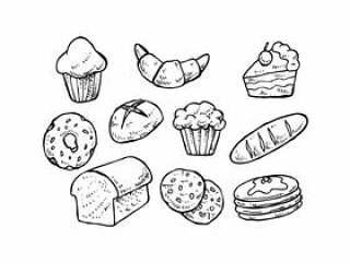 糕点手绘制的图标矢量