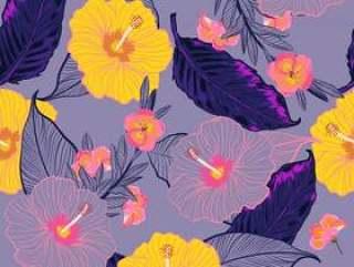 无缝矢量花卉图案