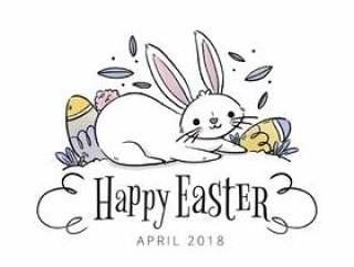 可爱的兔子用鸡蛋和叶子复活节