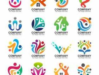 抽象人和家庭商标收藏,人象,健康商标模板,关心标志