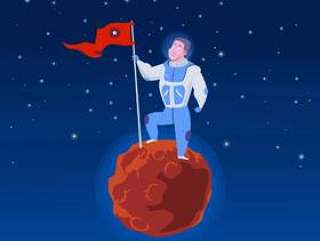 宇航员在行星例证登陆了