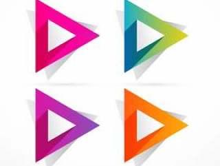 抽象的多彩三角形状设计插图