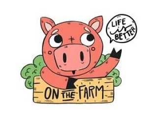 可爱的农场猪与木标志和报价的农场